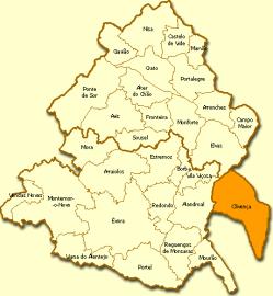 Mapa del Alentejo con Olivenza incorporada (de la Wiki en Portugués) Pincha para ampliar