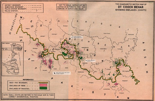 Mapa de mediados del siglo XX de Cooch Behar