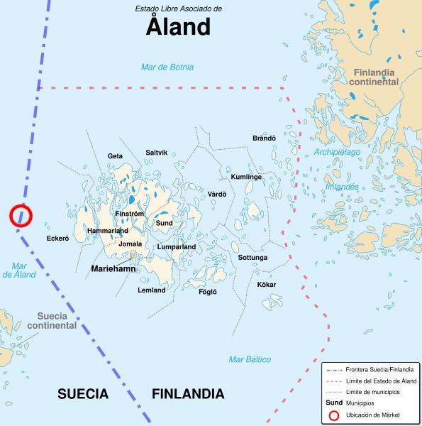 Localización de Märket con respecto al archipiélago de Åland (click para ampliar)