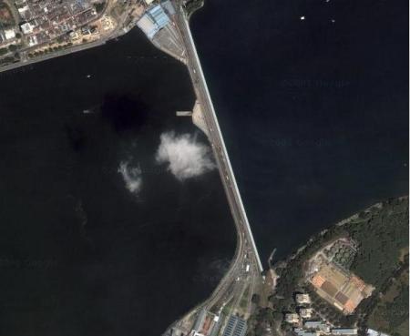 Puente entre Johor y Singapur en Google Maps (click para ampliar)