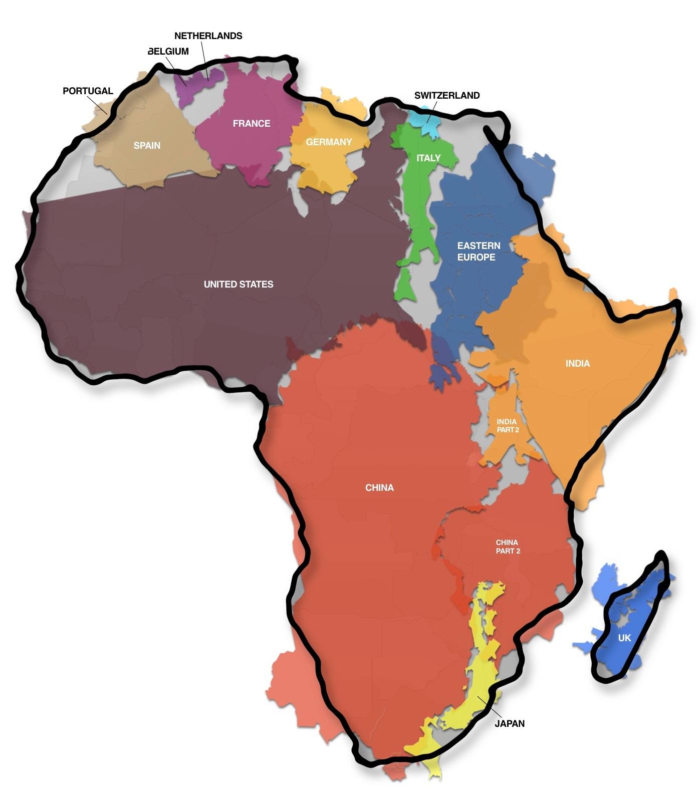 El verdadero tamao de los continentes  Fronteras