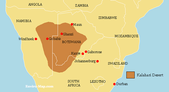 Desierto De Kalahari Mapa.Desierto Kalahari Mapa Mapa