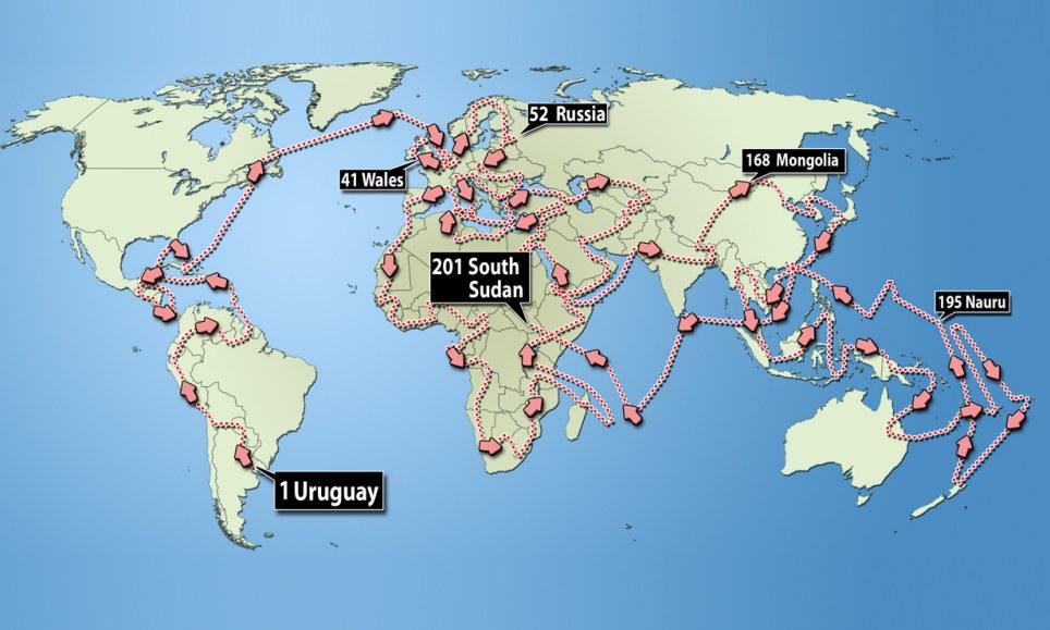 Mapa de los países visitados por Graham Hughes