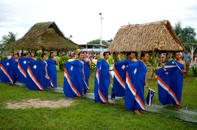 Ladies in Marshallese flag