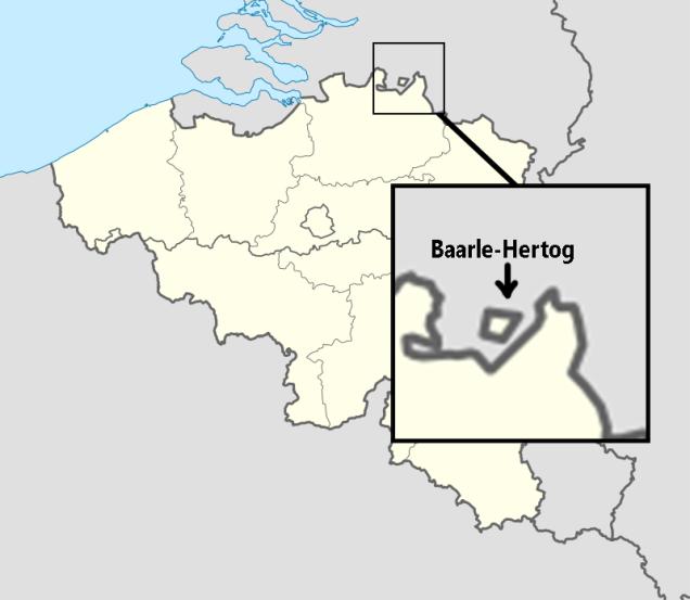 Mapa de Bélgica indicando la localización de Baarle sobre la frontera con los Países Bajos