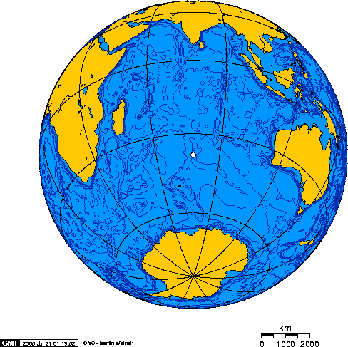 Mapamundi indicando la posición de la Isla de Nueva Ámsterdam, equidistante de Australia, África y la Antártida