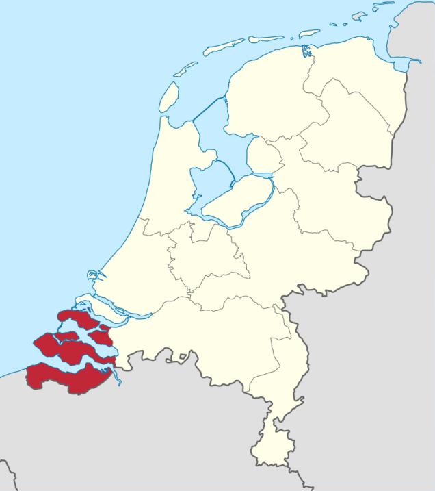 Mapa de la provincia de Zelanda, al suroeste de los Países Bajos